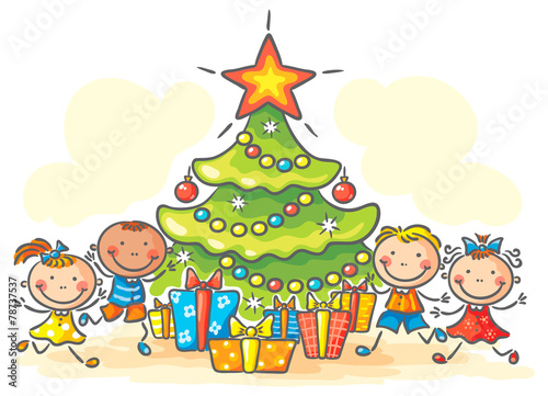 Kids getting presents for Christmas