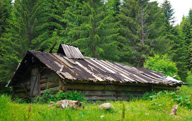 Old wooden house in the Ukrainian Carpathians