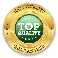 Green Top Quality Badge With Gold Border