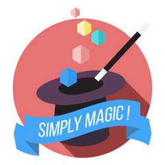 Magic Hat and Wand Flat Vector Illustration