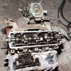 Car engine parts in the repair shop
