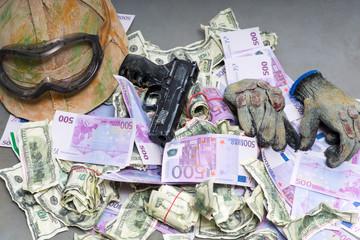 Money and a handgun