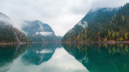beautiful long lake at jiuzhaigou,time lapse photography