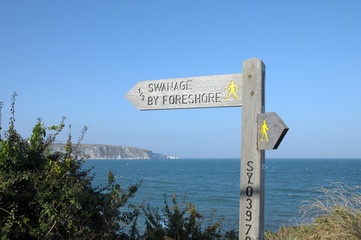 Signpost on Peveril Point in Swanage, Dorset