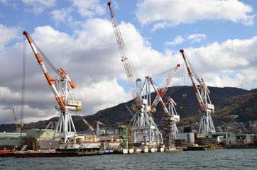 Harbor crane in shipyard, Kure, Hiroshima, Japan