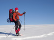 The man in snowshoes in the mountains indicates the direction.
