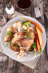 cooked lamb chop with vegetable