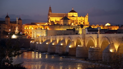 Old roman bridge and  Mosque-cathedral of Cordoba