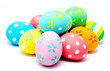 Colorful handmade easter eggs isolated - 78740719