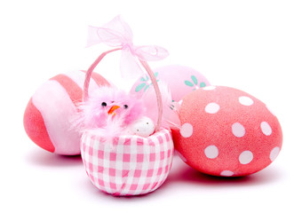 Colorful handmade easter eggs and pink chiken isolated