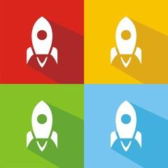 Iconos nave espacial colores sombra