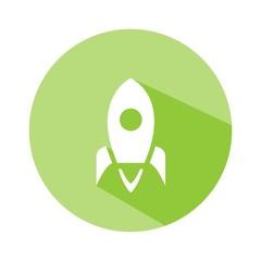 Icono nave espacial verde botón sombra