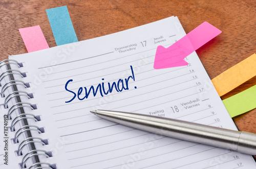 Leinwanddruck Bild Terminkalender mit Hinweissticker - Seminar