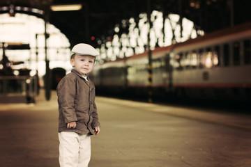 Boy on a railway station