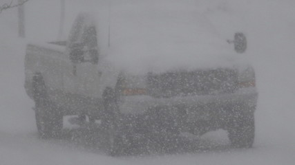 Parked Truck Snowing Hard