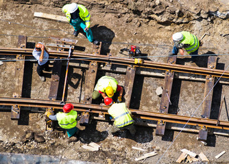 Man are working at the railway construction