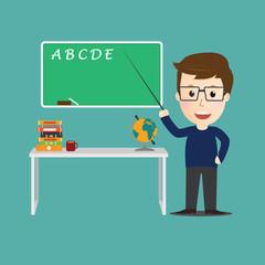 Vector of Character  teacher cartoon education concept.