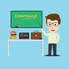 Vector of Character  teacher cartoon education concept.