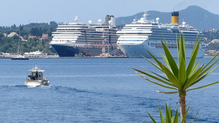 Cruise ships in port of Corfu Town, Greece
