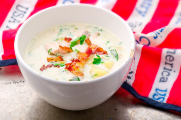 chowder with a salmon and bacon