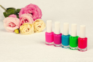Colorful nail polish for manicure