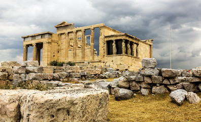 Ruins of the temple of Erechtheion in Athens, Greece
