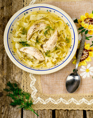 chicken soup with noodles .