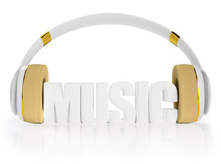 stylish white with gold headphones, and the word music.
