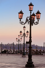 St Marks Square with lantern Venice Italy in the morning