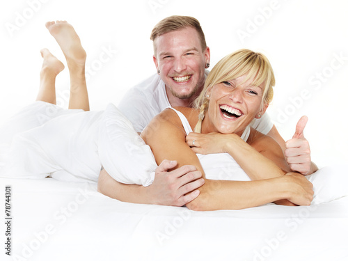 canvas print picture Happy couple at home