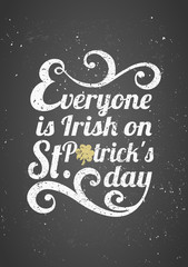 St. Patrick's Day Typographic Chalkboard Design