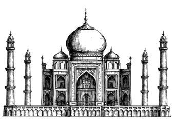 India. Taj Mahal on a white background. sketch