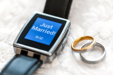 wearable displays just married  with wedding rings