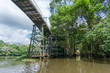 Leinwanddruck Bild - Amazon forest and wooden bridge built for anaconda film