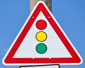 Traffic sign with traffic lights