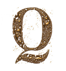 3D yellow shiny golden metal letter Q isolated on white