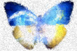 Ukraine butterfly freedom abstract geometric background
