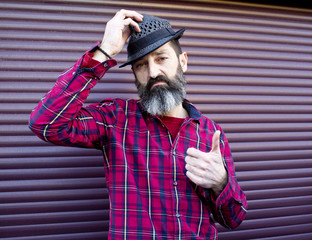bearded man with hat