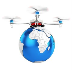 3d UAV drone with earth globe