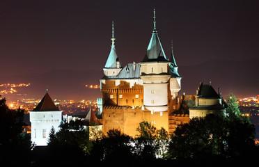 Bojnice castle, Slovakia at night.
