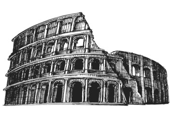 Italy. Colosseum on a white background. sketch