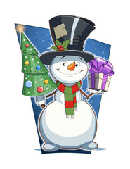 Snowman with gift and firtree. Christmas character. Eps10