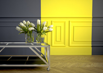 Spring bouquet of white tulips . 3d rendering