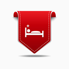 Heath Care Bed Red Vector Icon Design