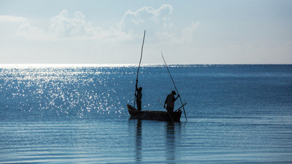 Africa, Kenya, fishermen, morning, ocean, fishermen in a boat