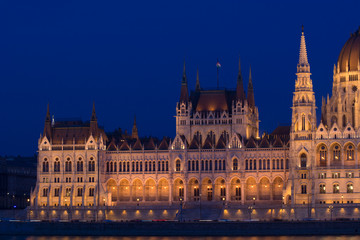 Parliament building of Hungary in Budapest in evening light