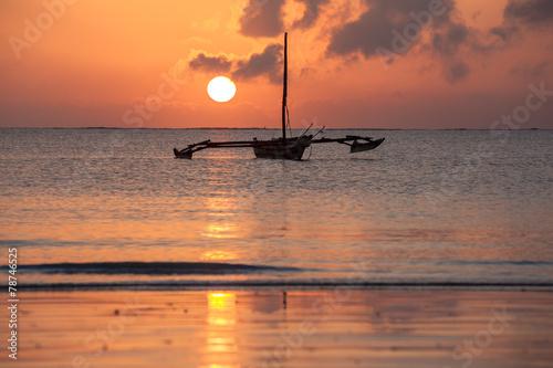 Leinwanddruck Bild Morning, landscape, boat, ocean, calm, clouds, sun