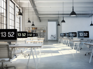 Computer and notebook on the working place. 3d rendering