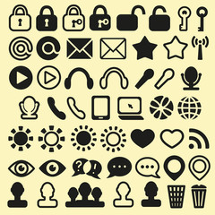 Set of Icons for Mobile Media and Web