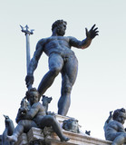 Bologna, Italy, statue of Neptune naked with Trident and little